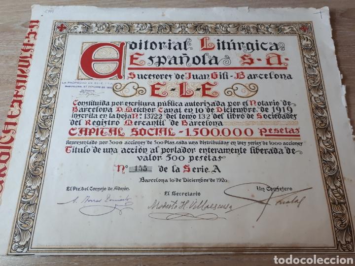 ACCION EDITORIAL LITURGICA ESPAÑOLA BARCELONA 1920 (Coleccionismo - Acciones Españolas)