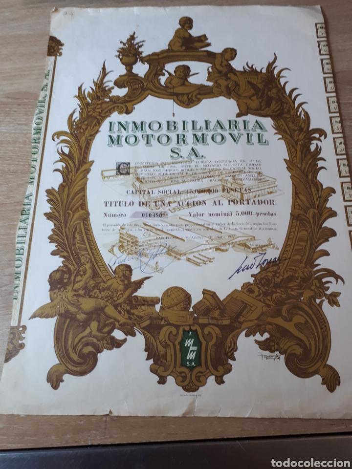 ACCION INMOBILIARIA MOTOR MOVIL S.A. 1969 (Coleccionismo - Acciones Españolas)