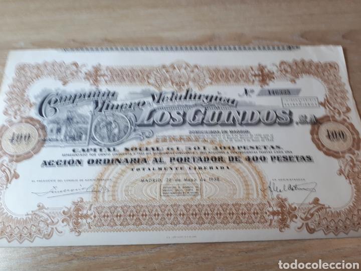 ACCION COMPAÑIA MINERO METALURGICA LOS GUINDOS MADRID 1958 (Coleccionismo - Acciones Españolas)