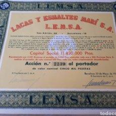Coleccionismo Acciones Españolas: ACCION LACAS Y ESMALTES MARI S.A. L.E.M.S.A. BARCELONA. Lote 289685468