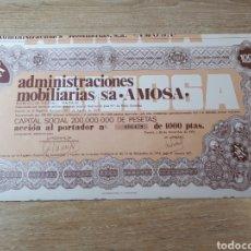Coleccionismo Acciones Españolas: ACCION ADMINISTRACIONES MOBILIARIAS S.A. AMOSA. Lote 289685903