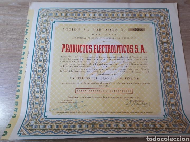 ACCION PRODUCTOS ELECTROLITICOS S.A. (Coleccionismo - Acciones Españolas)