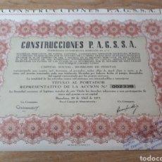 Coleccionismo Acciones Españolas: ACCION CONSTRUCCIONES P.A.G.S.S.A. BARCELONA. Lote 289686323