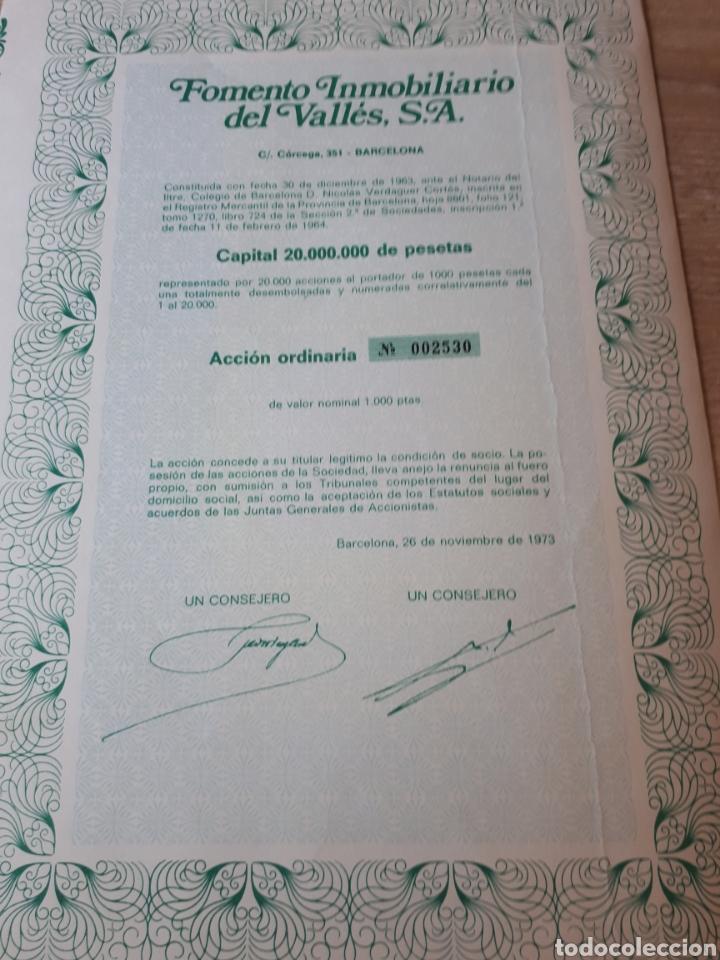 ACCION FOMENTO INMOBILIARIO DEL VALLES S.A. 1973 (Coleccionismo - Acciones Españolas)