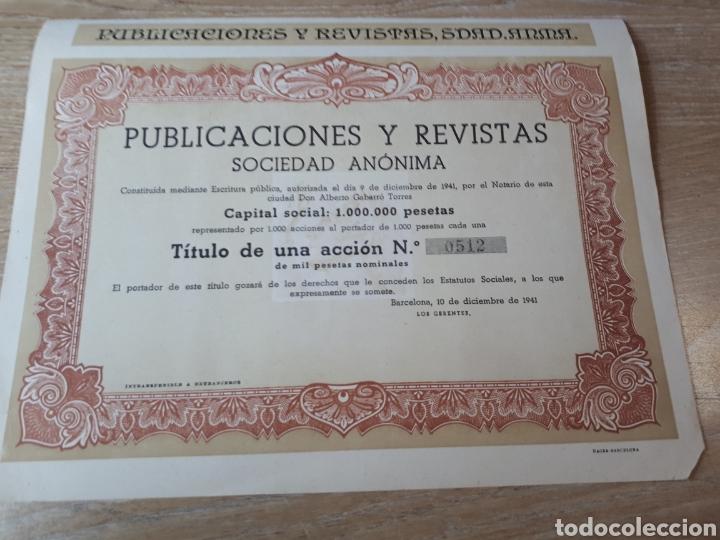 ACCION PUBLICACIONES Y REVISTAS S.A. BARCELONA (Coleccionismo - Acciones Españolas)