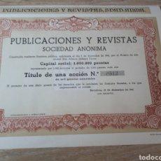 Coleccionismo Acciones Españolas: ACCION PUBLICACIONES Y REVISTAS S.A. BARCELONA. Lote 289687233