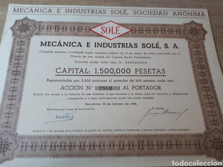 ACCION MECANICA E INDUSTRIAS SOLE S.A. BARCELONA (Coleccionismo - Acciones Españolas)