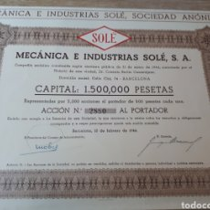 Coleccionismo Acciones Españolas: ACCION MECANICA E INDUSTRIAS SOLE S.A. BARCELONA. Lote 289687523