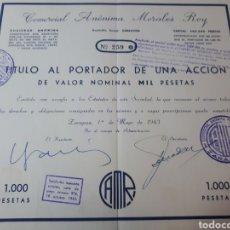 Coleccionismo Acciones Españolas: ACCION COMERCIAL ANONIMA MORALES ROY. Lote 289688188