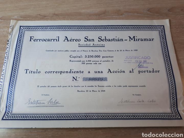 ACCION FERROCARRIL AEREO SAN SEBASTIAN - MIRAMAR S.A. (Coleccionismo - Acciones Españolas)