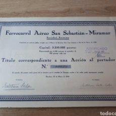 Coleccionismo Acciones Españolas: ACCION FERROCARRIL AEREO SAN SEBASTIAN - MIRAMAR S.A.. Lote 289688553