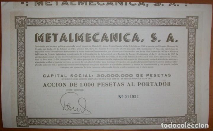 METALMECÁNICA S.A. OVIEDO (ASTURIAS). 1967 (Coleccionismo - Acciones Españolas)