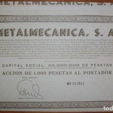 Coleccionismo Acciones Españolas: METALMECÁNICA S.A. OVIEDO (ASTURIAS). 1967. Lote 289729838
