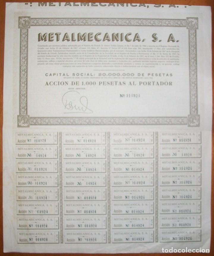 Coleccionismo Acciones Españolas: Metalmecánica S.A. Oviedo (Asturias). 1967 - Foto 2 - 289729838