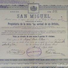 Colecionismo Ações Espanholas: ANTIGUA ACCIÓN, SAN MIGUEL, MINA LA VERDAD DE UN ARTISTA, MURCIA, 1899. Lote 293283738