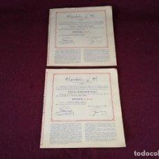 Colecionismo Ações Espanholas: LOTE DE 2 ANTIGUAS ACCIONES, AGRIDULCE SA, MURCIA, 1966. Lote 293284193