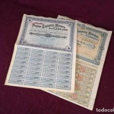 Colecionismo Ações Espanholas: LOTE DE 2 ANTIGUAS ACCIONES, COMPAÑÍA FRANCO - ESPAÑOLA DE LA CAROLINA, MADRID, 1907 Y 1911. Lote 293290983