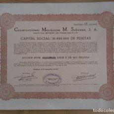 Coleccionismo Acciones Españolas: ACCIONES CONSTRUCCIONES MECÁNICAS M. SUBIRANA S.A. - 1966. Lote 294806768