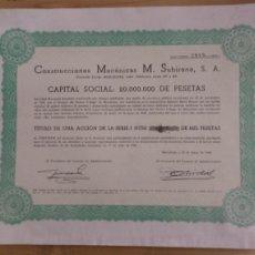 Coleccionismo Acciones Españolas: ACCIONES CONSTRUCCIONES MECÁNICAS M. SUBIRANA S.A. - 1968. Lote 294807123