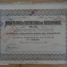 Coleccionismo Acciones Españolas: ACCIONES MAQUINARIA Y ELEMENTOS DE TRANSPORTE - 1946. Lote 294807408