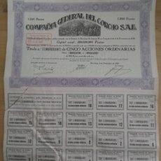 Coleccionismo Acciones Españolas: ACCIONES COMPAÑIA GENERAL DEL CORCHO SAE - 1929. Lote 294807718