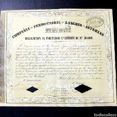 Coleccionismo Acciones Españolas: ACCION-OBLIGACION 1850 FERROCARRIL LANGREO ASTURIAS -1850 - 3ER FC ESPAÑOL EMISIÓN 264. Lote 27326367