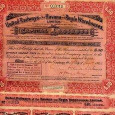 Coleccionismo Acciones Extranjeras: ACCION UNITED RAILWAYS HABANA - REGLA 1928 CUBA FERROCARRIL , VALOR 50 , ORIGINAL. Lote 29883395