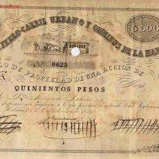 Coleccionismo Acciones Extranjeras: ACCION FERROCARRIL URBANO Y OMNIBUS HABANA 1876 CUBA. Lote 56858226