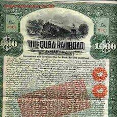 Coleccionismo Acciones Extranjeras: ACCION THE CUBA RAILROAD COMPANY FERROCARRIL 1910. Lote 108977239