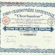 Coleccionismo Acciones Extranjeras: MINERA : UNION CHARBONNIERE CONTINENTALE CHARBUNION 1929. Lote 5139545