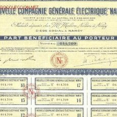 Coleccionismo Acciones Extranjeras: NOUVELLE COMPAGNIE GENERALE ELECTRIQUE NANCY. Lote 133058809