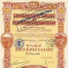 Coleccionismo Acciones Extranjeras: COMPAGNIE DES TABACS ET PLANTATIONS DU CAMEROUN 1929. Lote 118950655