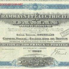 Coleccionismo Acciones Extranjeras: TRANVIAS : TRAMWAYS ET ELECTRICITE DE DAMAS 1928. Lote 4038413