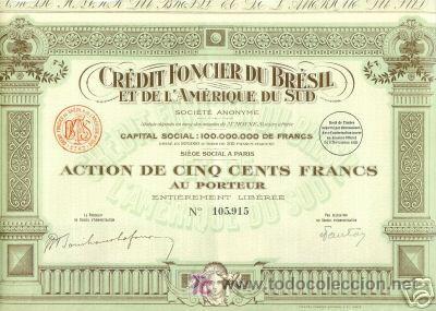 CREDIT FONCIER DU BRESIL ET AMERIQUE DU SUD 1925 (Coleccionismo - Acciones Extranjeras )