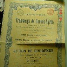 Coleccionismo Acciones Extranjeras: 8069 ARGENTINA BUENOS AIRES TRANVIA TRAMWAY ACCION SHARE AÑO 1907 - MAS EN COSAS&CURIOSAS. Lote 9843600