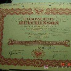 Coleccionismo Acciones Extranjeras: 8065 FRANCIA FRANCE HUTCHINSON - CIA DE CAOUTCHOUC - CAUCHO ACCION SHARE AÑO 1898 C&C. Lote 16332494