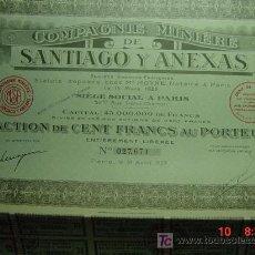 Coleccionismo Acciones Extranjeras: 8059 SANTIAGO Y ANEXAS - ACCION SHARE AÑO 1927 MINAS MINERIA - MAS EN COSAS&CURIOSAS. Lote 10886075