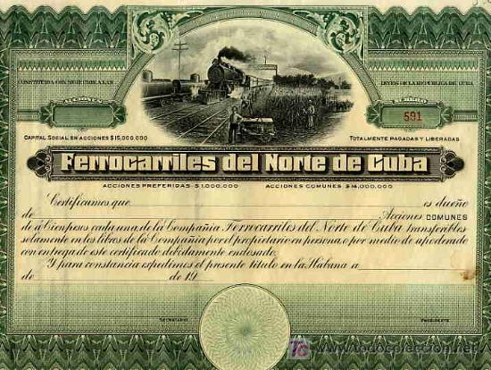 ACCION FERROCARRILES DEL NORTE DE CUBA 19..., HABANA , ORIGINAL (Coleccionismo - Acciones Extranjeras )