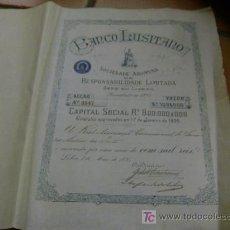 Colecionismo Ações Internacionais: SHARE ACCION PORTUGAL - 1895 - BANCO LUSITANO LISBOA. Lote 6197373