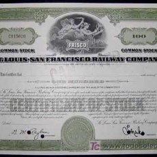 Coleccionismo Acciones Extranjeras: TRANVIAS : ST. LOUIS - SAN FRANCISCO RAILWAY COMPANY. Lote 6898148