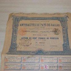 Coleccionismo Acciones Extranjeras: COMPAGNIE FRANÇAISE ANTHRACITES DU PAYS DE GALLES,PARIS 1895. Lote 8453886