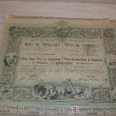 Coleccionismo Acciones Extranjeras: SOCIEDAD DE EXPLOTACION DE LAS MINAS DE VENEZUELA,PARIS 1888,IMPRIMERIE CENTRALE DES CHAMINS DE FER. Lote 27341803