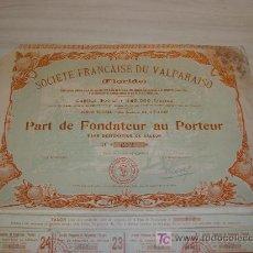 Coleccionismo Acciones Extranjeras: SOCIETE FRANÇAISE DU VALPARAISO (FLORIDE) PARIS 1905,IMPRIMERIE DE LA COUR D APPEL. Lote 8453893