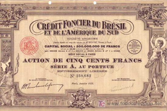 CREDIT FONCIER DU BRESIL ET DE L' AMERIQUE DU SUD 1928 (Coleccionismo - Acciones Extranjeras )