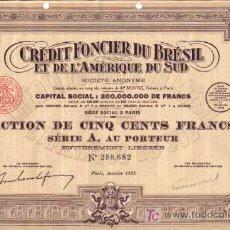 Coleccionismo Acciones Extranjeras: CREDIT FONCIER DU BRESIL ET DE L' AMERIQUE DU SUD 1928. Lote 7033773