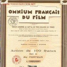 Coleccionismo Acciones Extranjeras: OMNIUM FRANCAIS DU FILM 1928. Lote 3943521