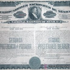 Coleccionismo Acciones Extranjeras: BONO FERROCARRILES NACIONALES DE MÉXICO, CON TODOS LOS CUPONES. Lote 18855160