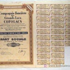 Coleccionismo Acciones Extranjeras: ACCIÓN - COMPAGNIE FONCIÈRE DES GRANDS LACS COFOLACS - CONGO BELGA (AÑO 1956). Lote 26245914