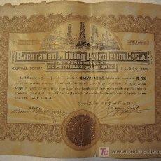 Coleccionismo Acciones Extranjeras: COMPAÑIA MINERA DE PETROLEO - BACURANAO MINING PETROLEUM. ACCION DE 500 ACCIONES 1918. Lote 60914513