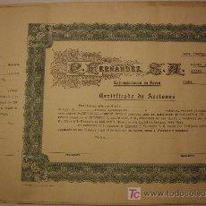 Coleccionismo Acciones Extranjeras: ACCION DE LA COMPAÑIA FERNANDEZ (ESTAMPACIONES EN ACERO). - HABANA CUBA . Lote 27310165